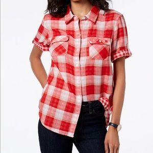Tommy Hilfiger women's red checkered button down